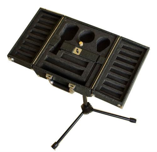 Slims custom harmonica cases. Black case on mic stand..JPG